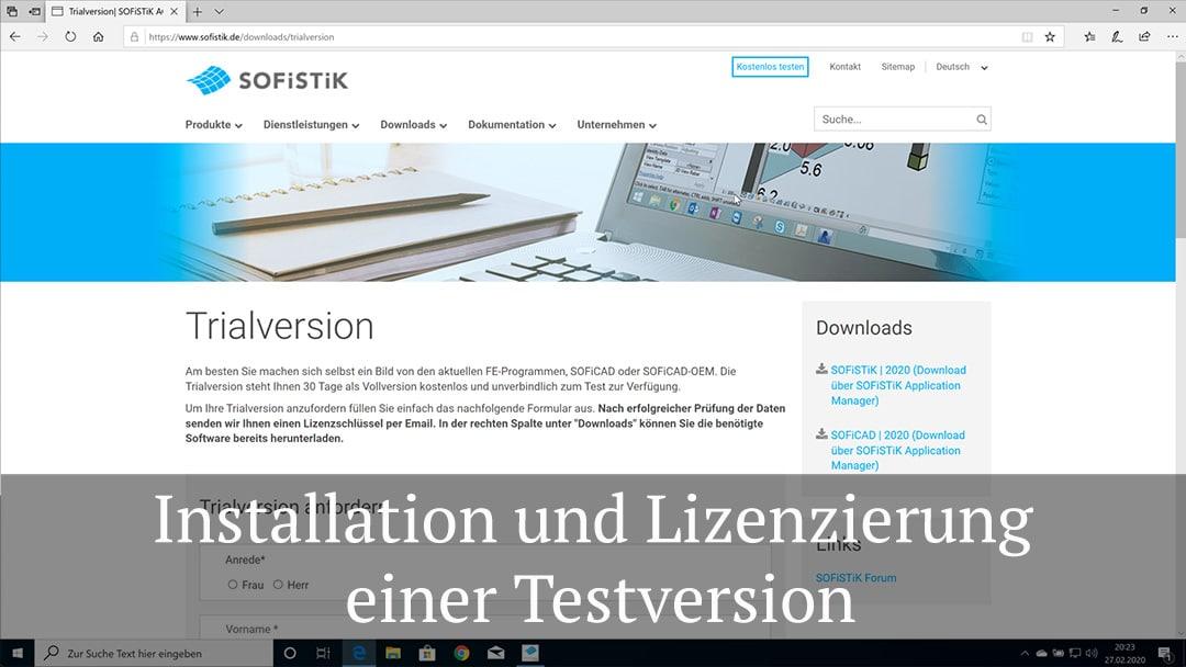 Installation und Lizenzierung einer Testversion von SOFiSTiK