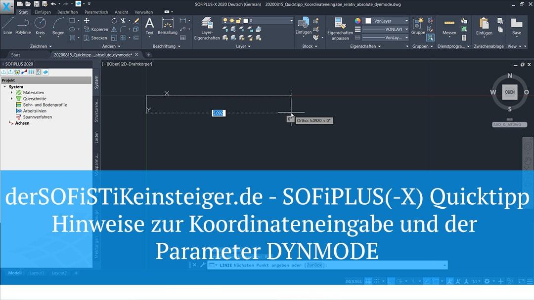 SOFiPLUS(-X) Quicktipp- Hinweise zur Koordinateneingabe und der Parameter DYNMODE