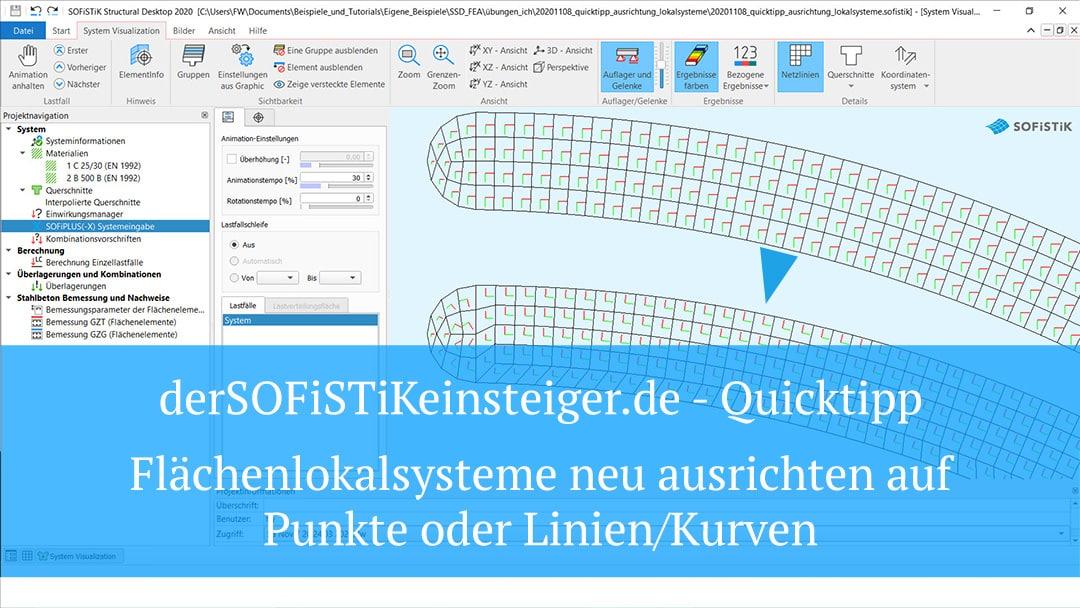 SOFiPLUS(-X) Quicktipp – Flächenlokalsysteme neu ausrichten auf Punkte oder Linien/Kurven