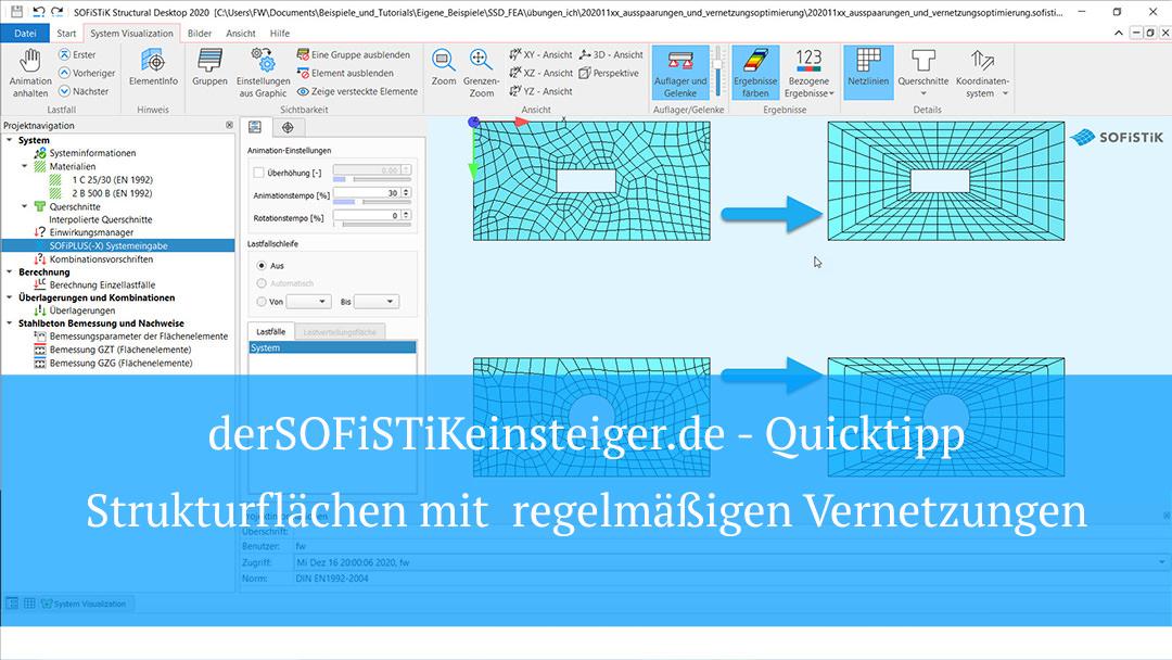 SOFiSTiK Quicktipp – Strukturflächen mit  regelmäßigen Vernetzungen