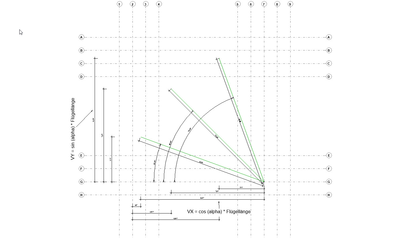 Grafik für die Erläuterung des Ansatzes für die Flügelkoordinaten